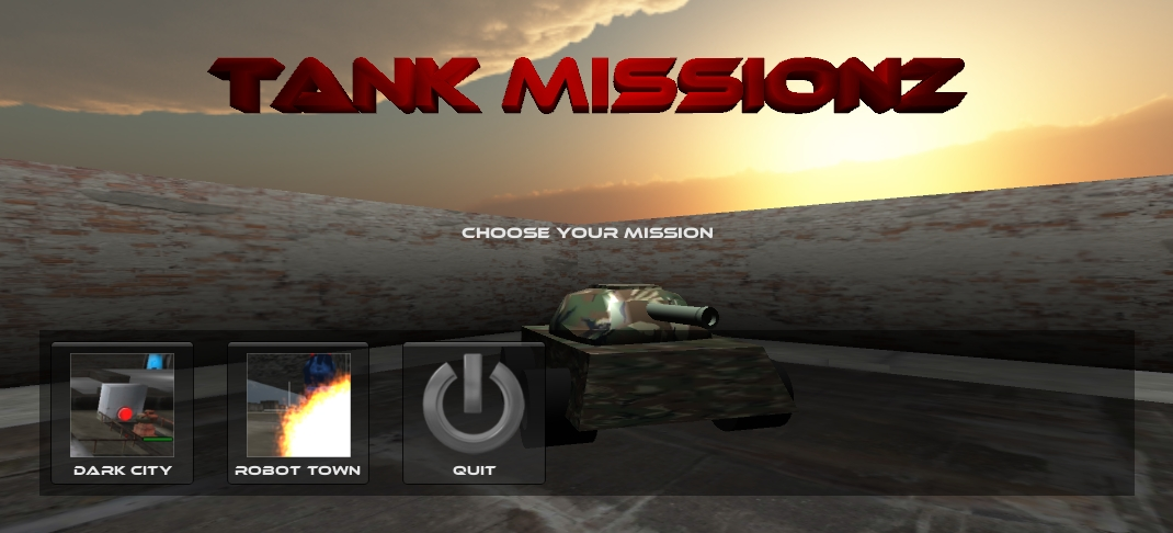 Startscreen of the mobile game Tankmissionz