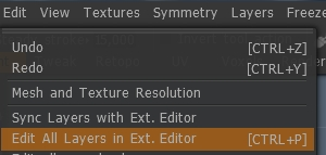 Edit layers with external editor with 3D coat