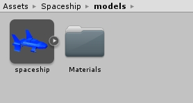 Models for in Unity with spaceship fbx