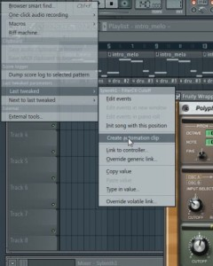 Create AutomationClip for last tweaked in FL Studio 11