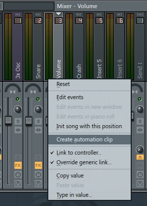 fl studio how to create automation clip