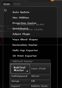 Subtool master menu
