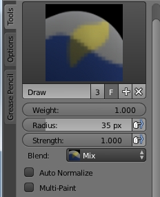 Draw brush for weight painting in Blender
