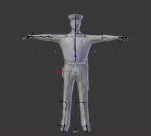 Blender human rig in T-Pose