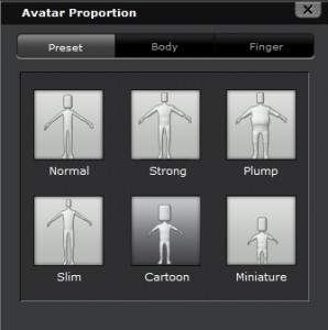 Cartoon preset in Avatar Proportion window