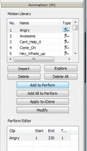 Animation in Perform Editor