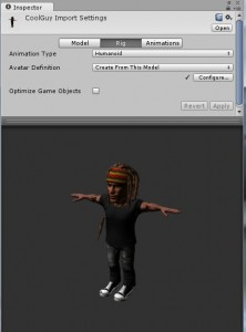 Humanoid rig for iClone character in Unity