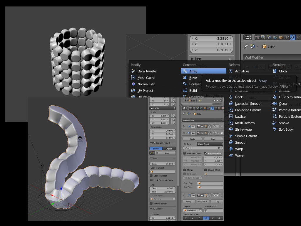 In this tutorial we will demonstrate two Blender modifiers in combination: The array and the curve modifier to align objects along a curve like that: Render