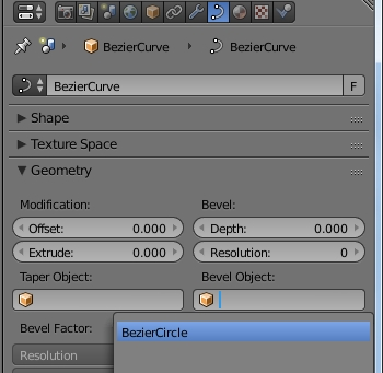 Use bezier circle as bevel object