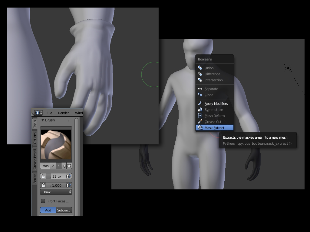 Blender Sculpt Tools UI: Mask extract