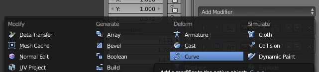 Add a new curve modifier for object