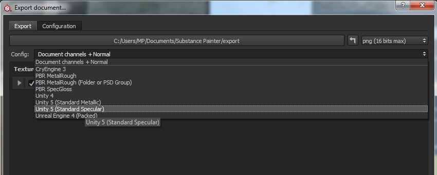 Export to Unity 5 Specular