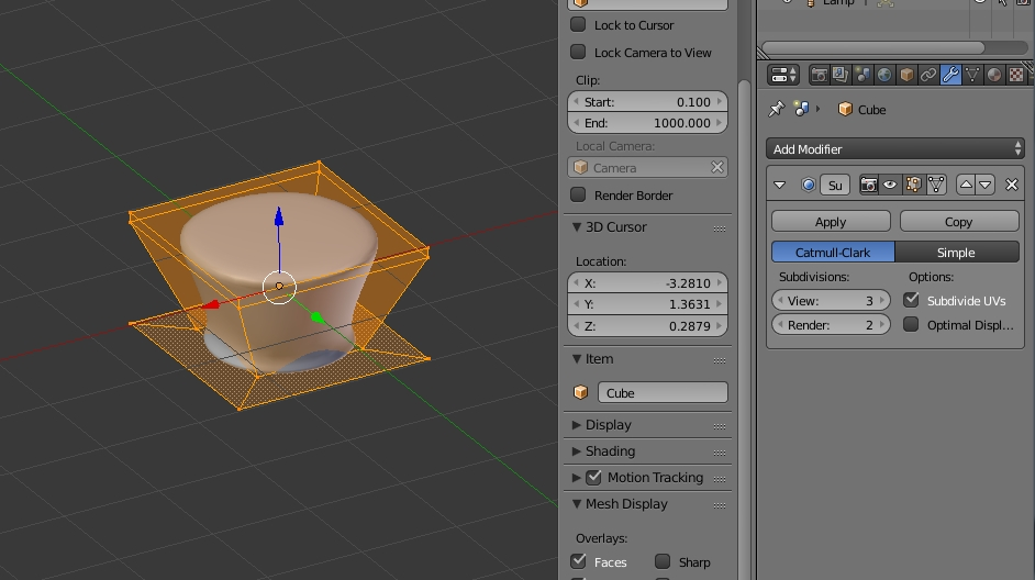 subsurface modifier for simple object
