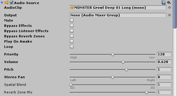 Audiosource Monster Grunt Unity3d