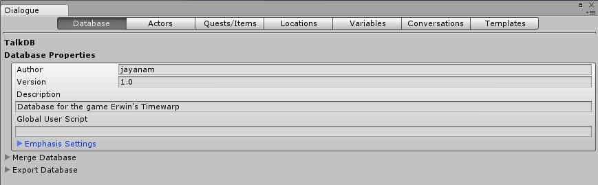 Creating a new Dialogue database