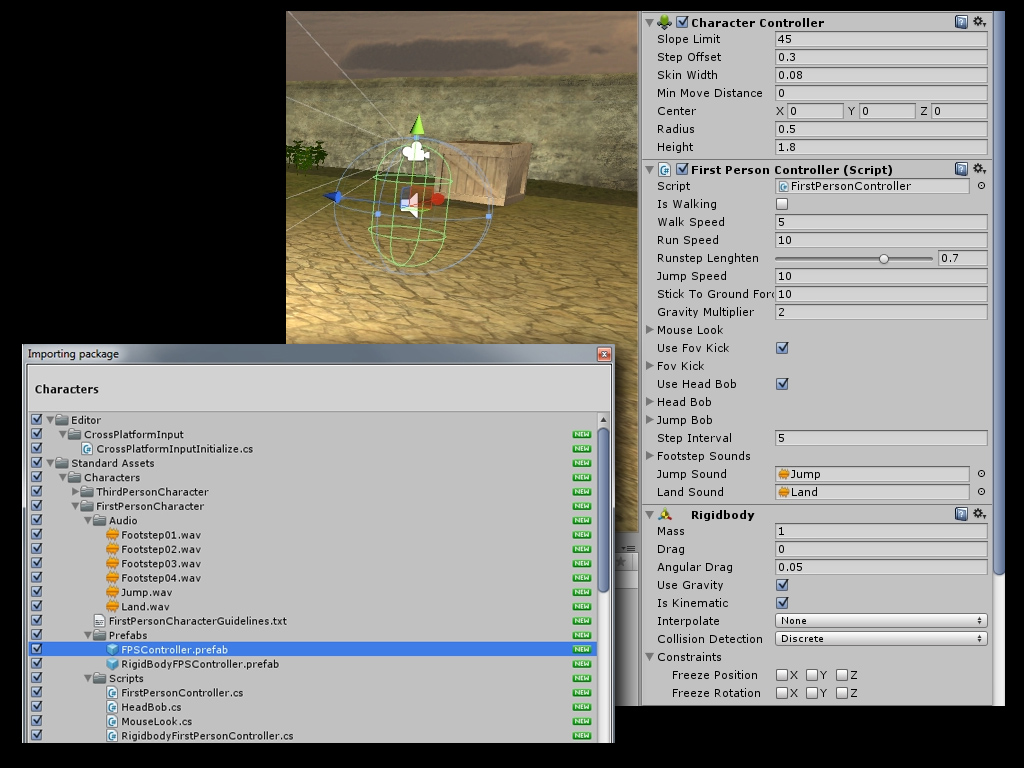 Unity5 FPSController tutorial