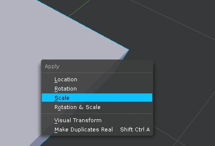 Apply scale in Blender