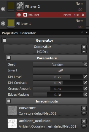 Dirt generator in substance painter