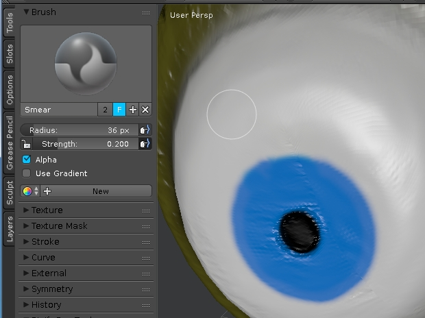 Use smear to clear normal maps for eyes