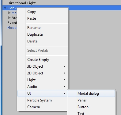 Add modal dialog to canvas