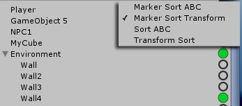Unity Hierarchy Marker sort options