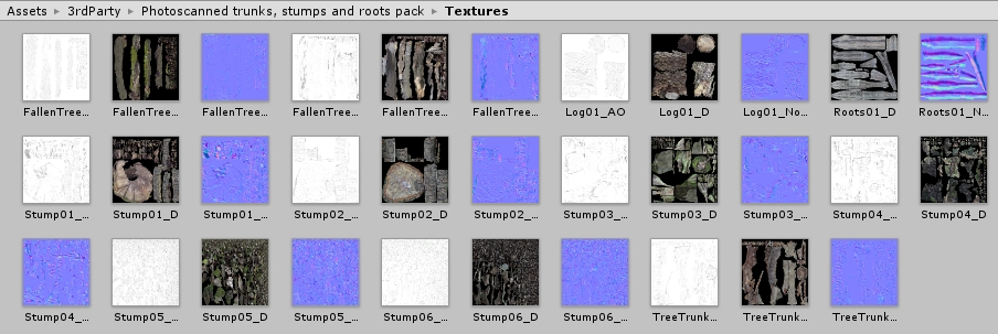 Textures of the tree asset