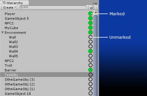 Unity Hierrachy marker asset overview
