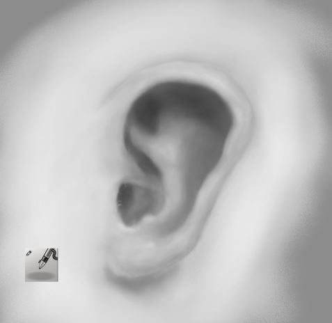 Ear with air brush in Krita