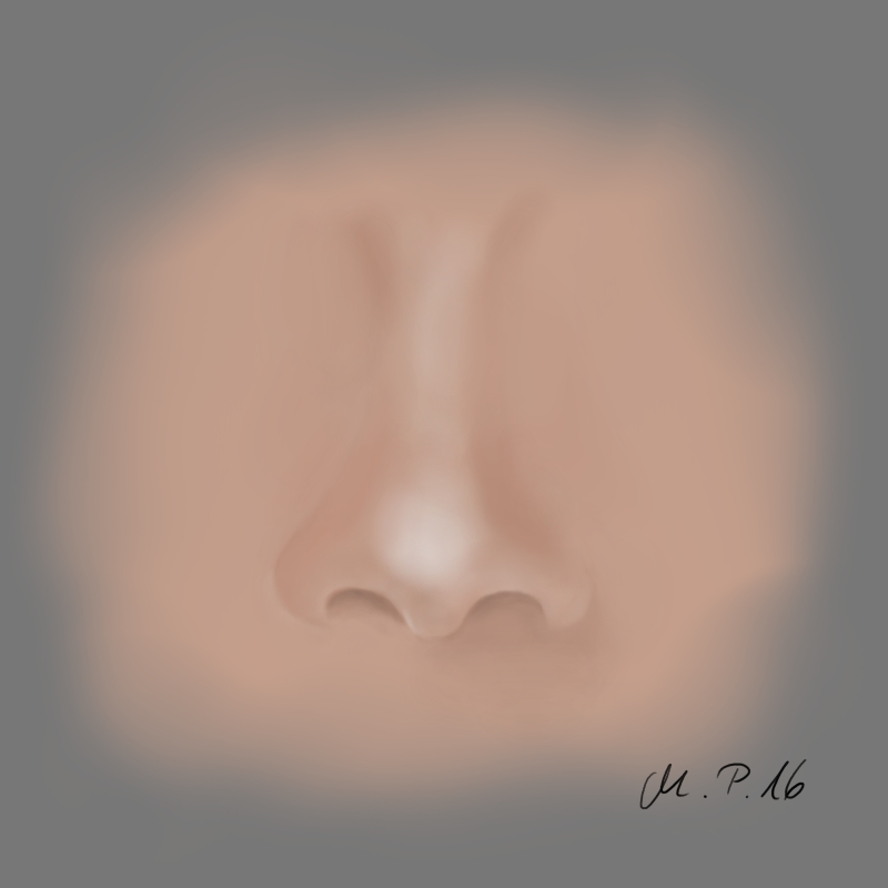 Painting a nose tutorial with Krita or Photoshop